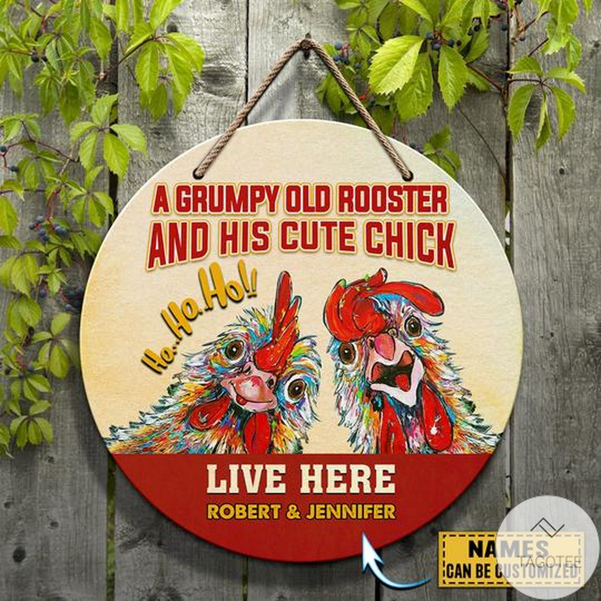 Great Personalized Old Rooster And His And His Cute Chick Live Here Round Wooden Sign