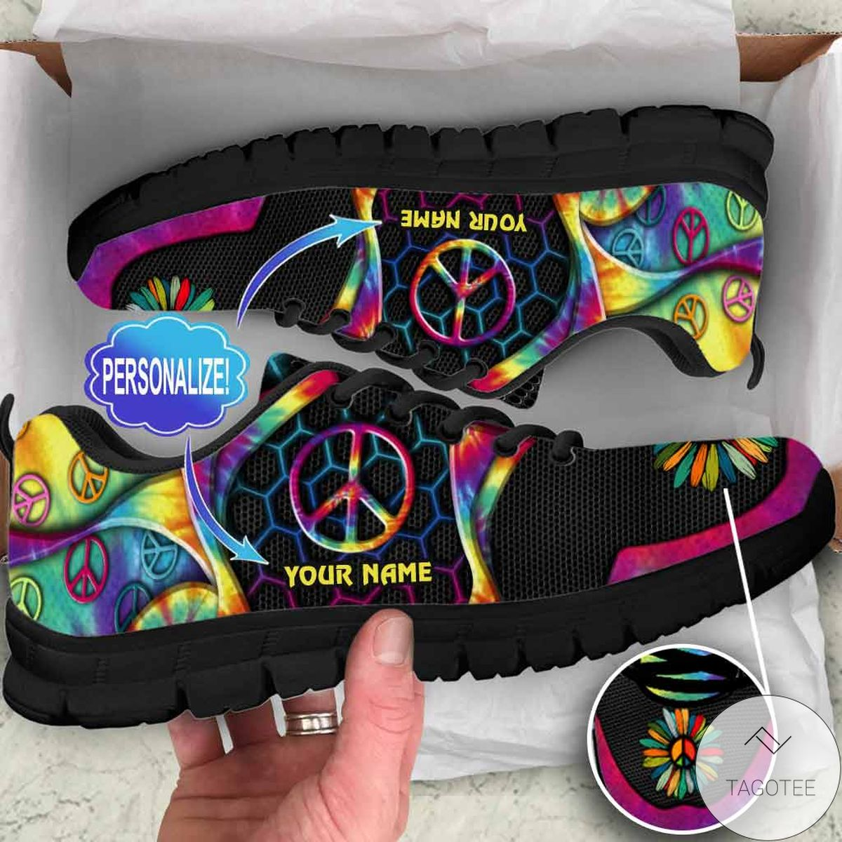 Personalized Peace Hippie Sneakers
