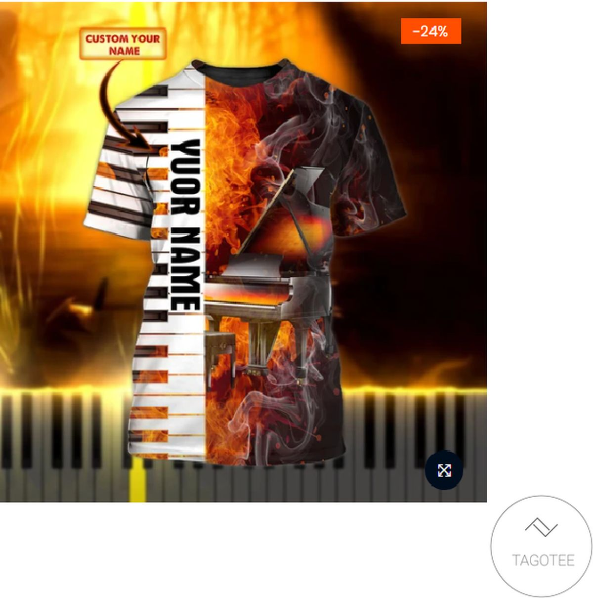 Personalized Piano 3d Shirt