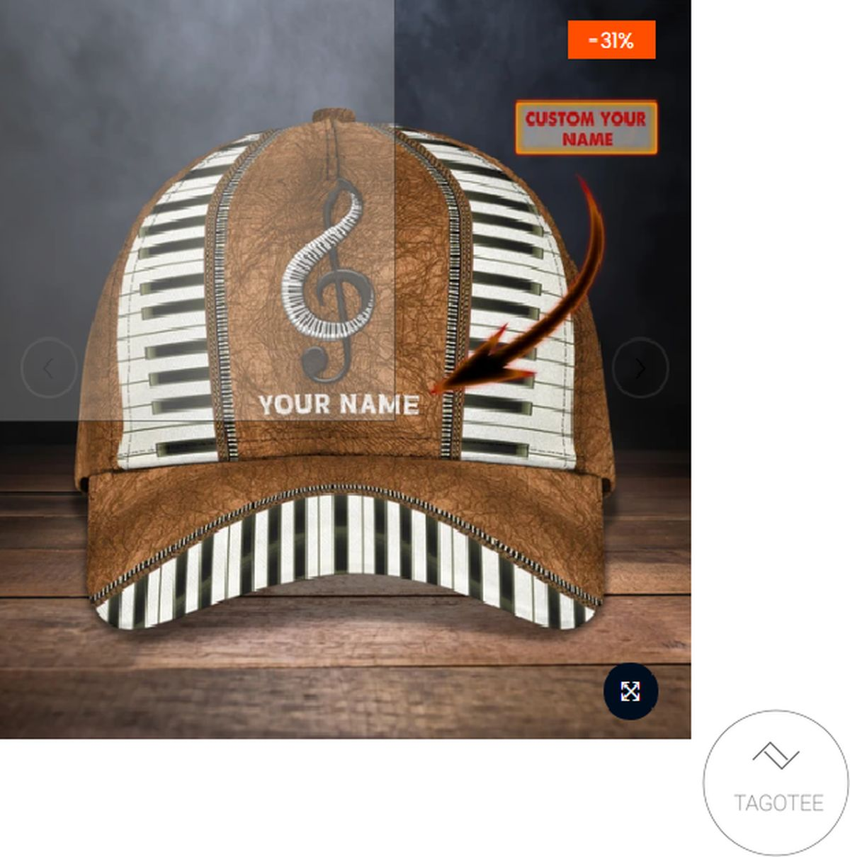 Personalized Piano Music Vintage 3d Cap