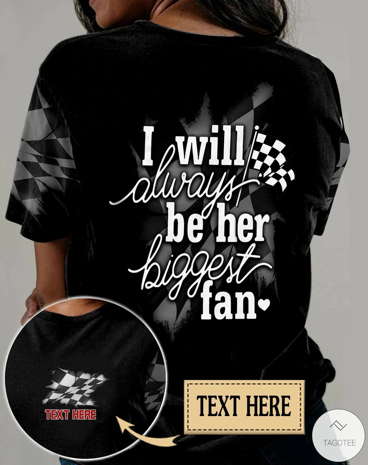 Personalized Racing I Will Always Be Her Biggest Fan 3D All Over Print T-shirt, Hoodiez