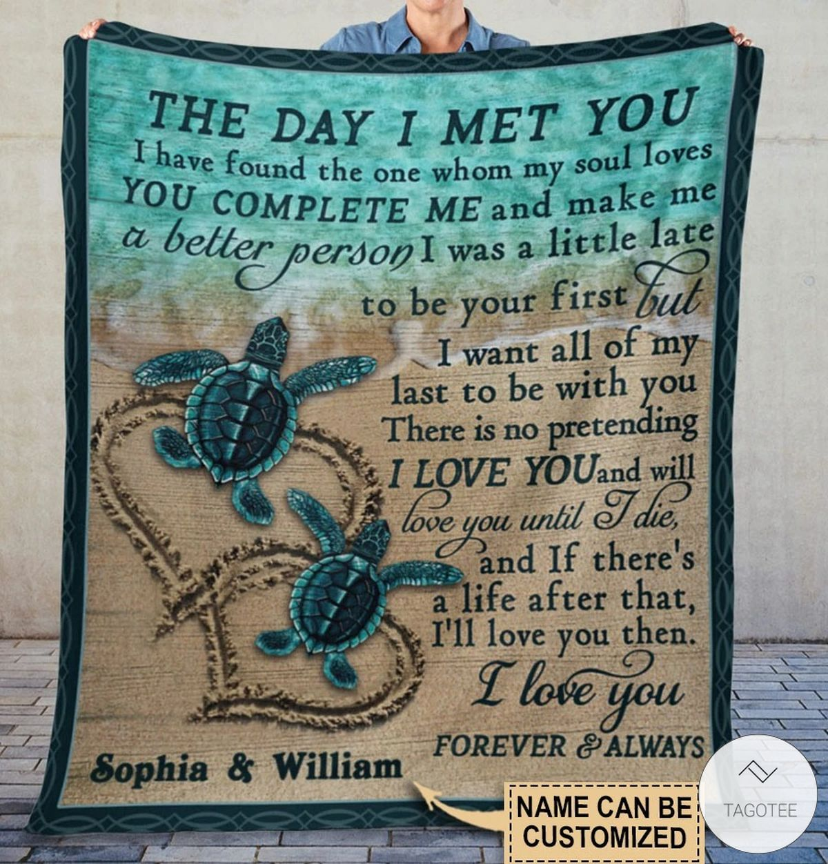 Personalized Sea Turtle The Day I Met You I Have Found The One Whom My Soul Loves Fleece Blaket x