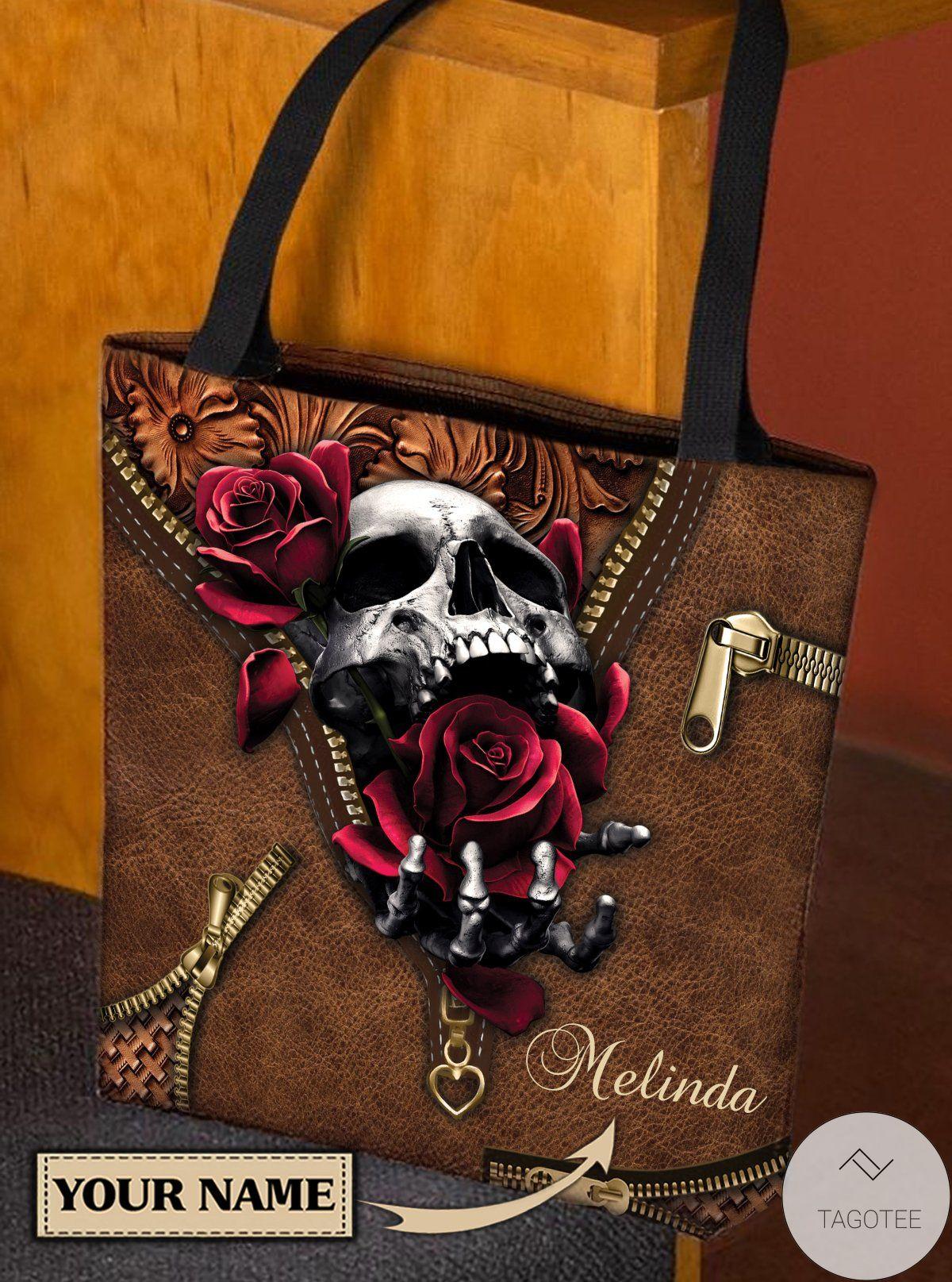 Beautiful Personalized Skull Rose Leather Print Tote Bag