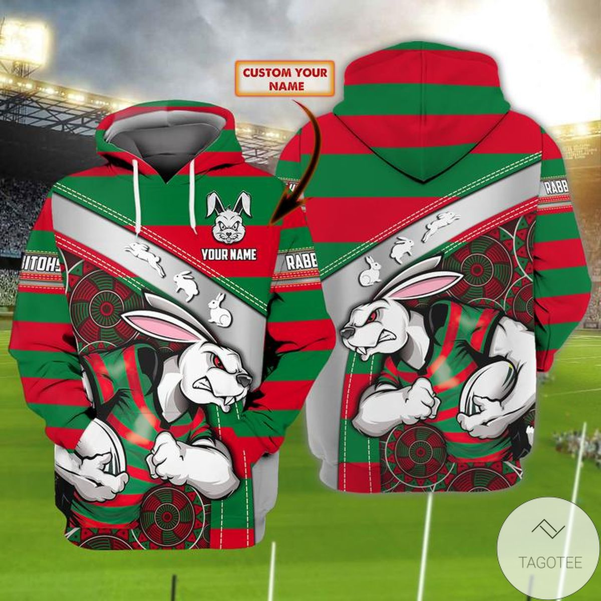 Personalized South Sydney Rabbitohs 3d Hoodie