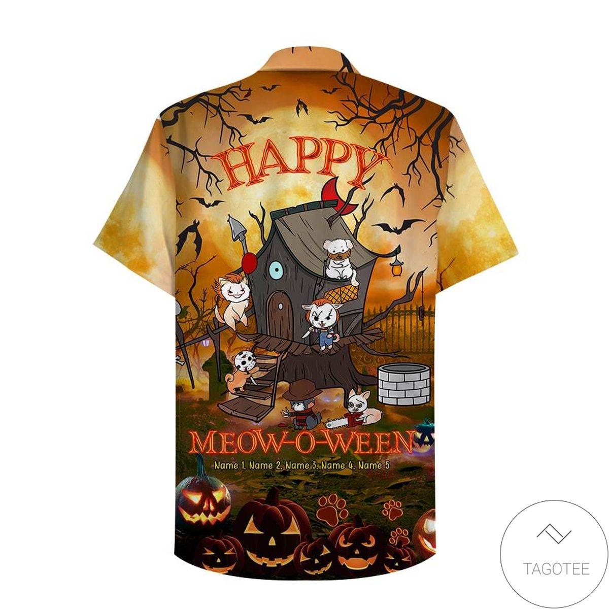 Personalized Spooky Halloween Happy Meow-O-Ween Cat Hawaiian Shirt