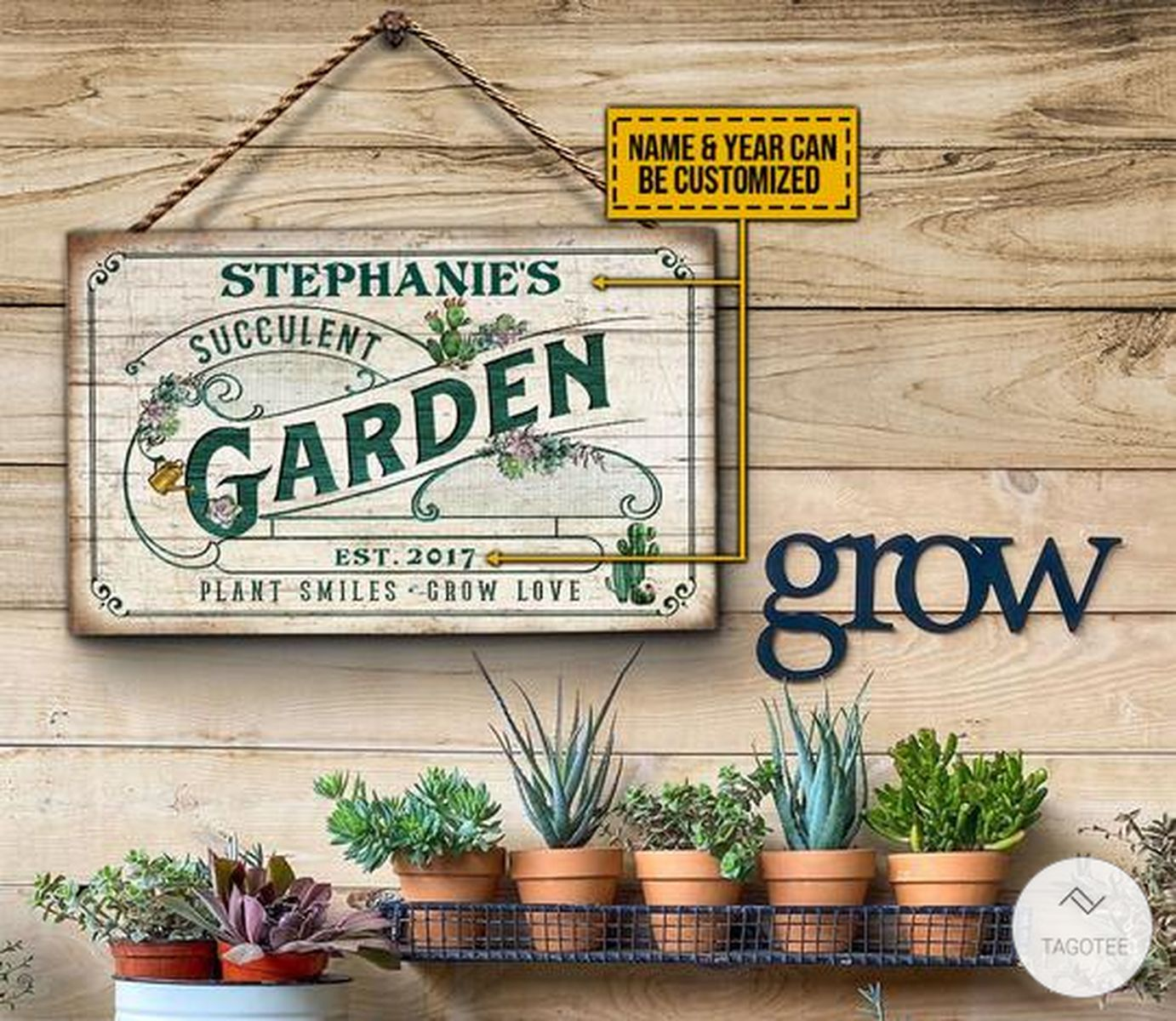 Personalized Succulent Garden Plants - Smiles - Grow Love Rectangle Wood Sign
