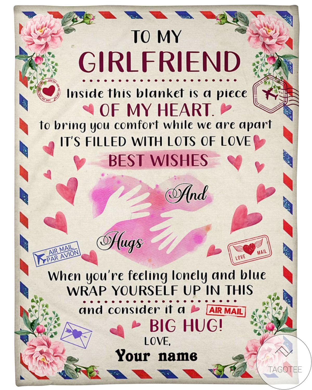 Personalized To My Girlfriend Big Hug Love Blanket