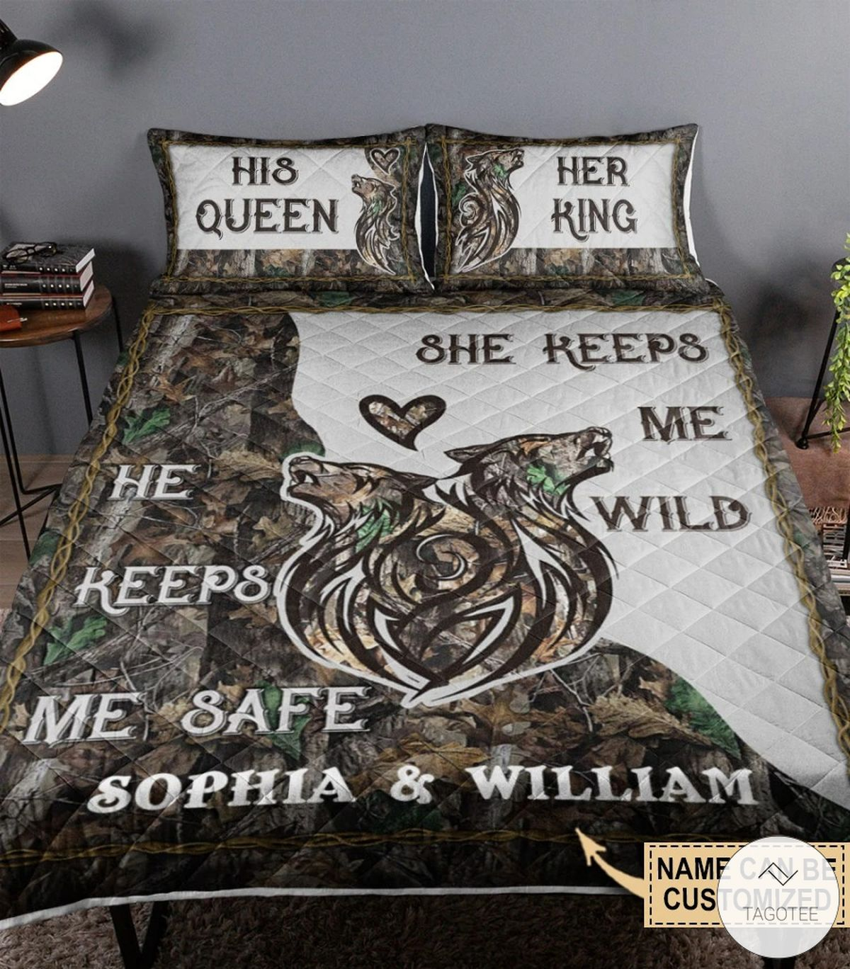 Personalized Wolf Couple Camo He Keeps Me Safe She Keeps Me Wild Quilt Bedding Set