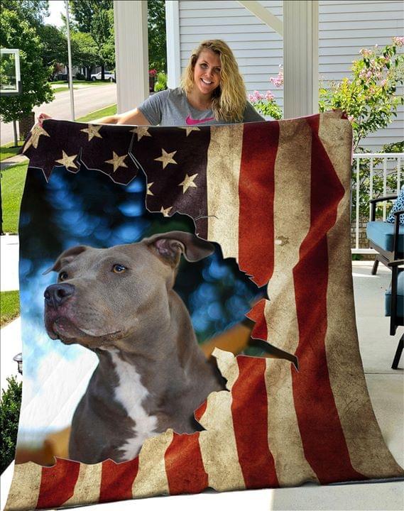 Pitbull American Flag Fleece Blanket 0