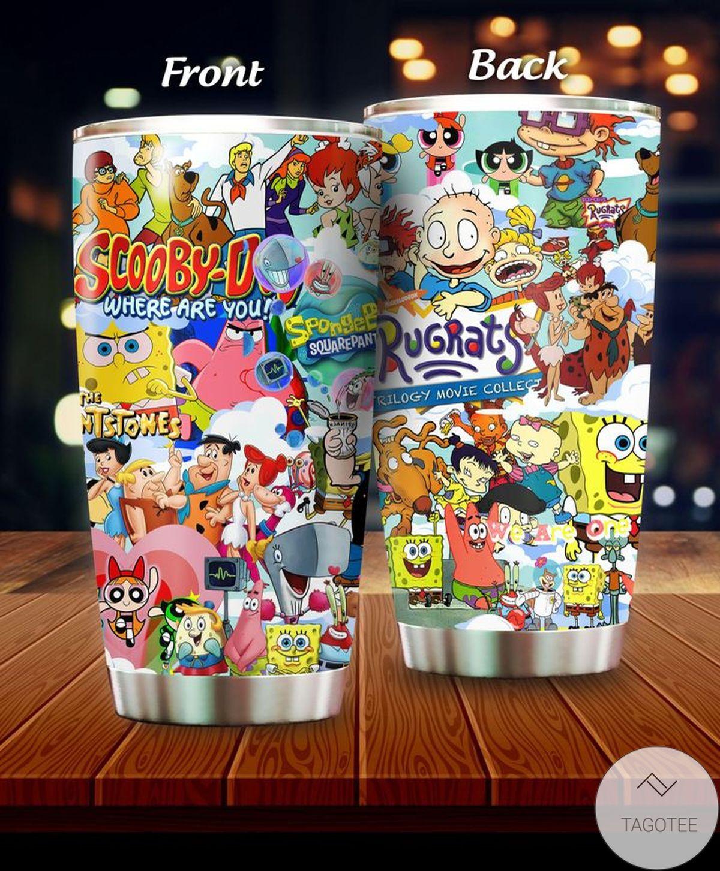 Popeye, Rugrats, Scooby-doo, Powerpuff Girls, Spongebob Squarepants, The Flinstones Cartoon Tumbler