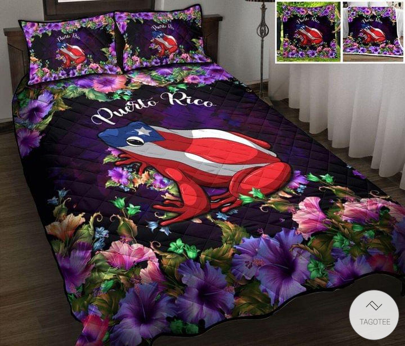 Puerto Rico Flower Frog 3D Quilt Bedding Set