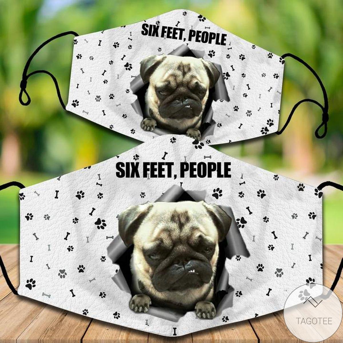Vibrant Pug Six Feet People Face Mask