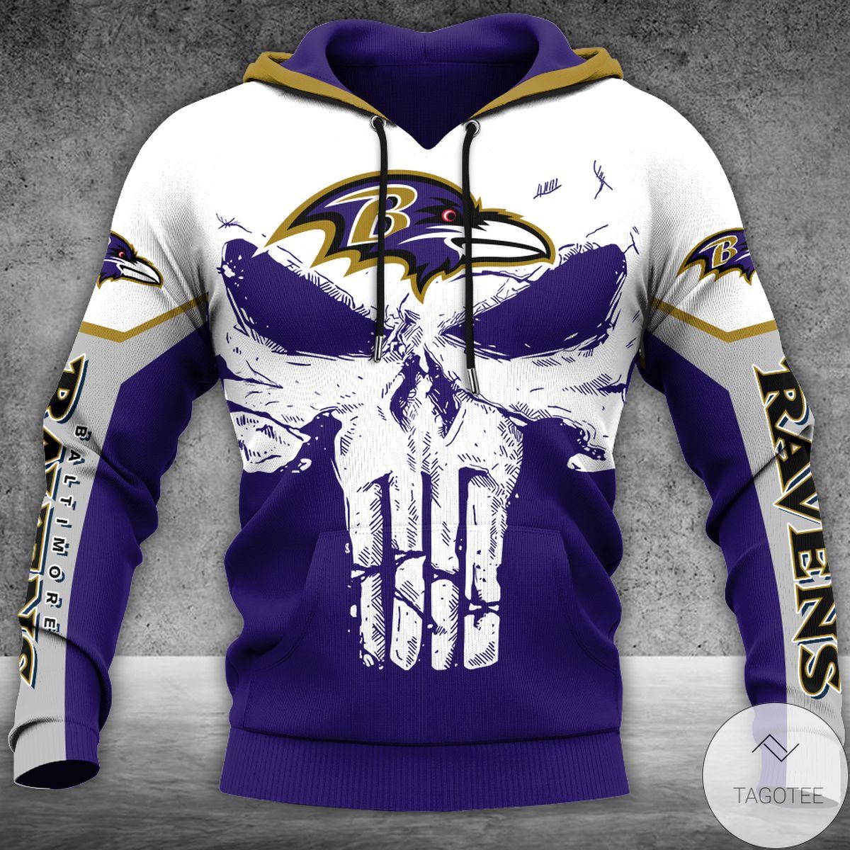 Punisher Baltimore Ravens White Skull 3d Hoodie