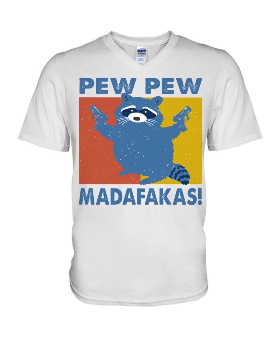Raccoon Pew Pew Madafakas V-neck