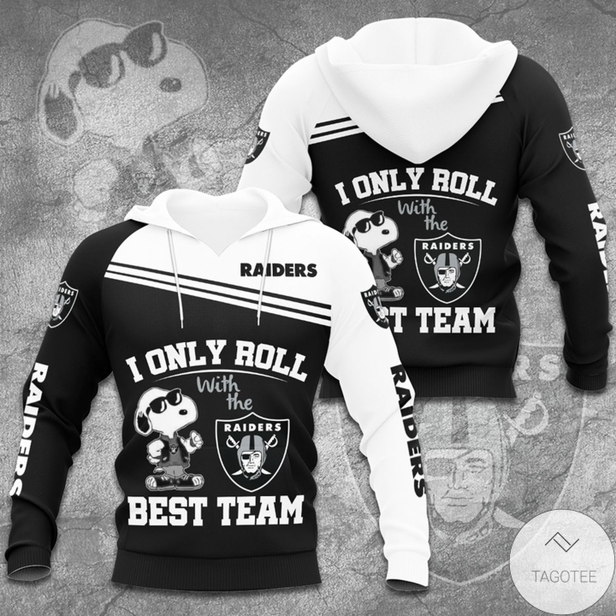 Free Ship Raiders Snoopy I Only Roll With The Best Team Hoodie