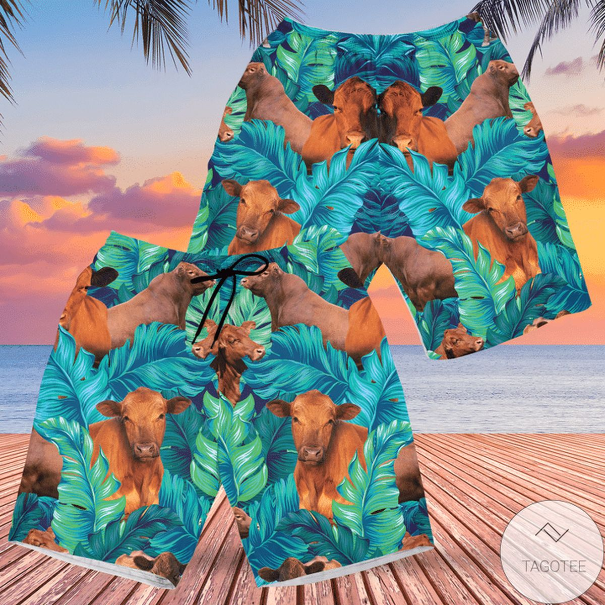 Red Angus Cattle Lovers Hawaiian Swim Trunks Beach Shorts