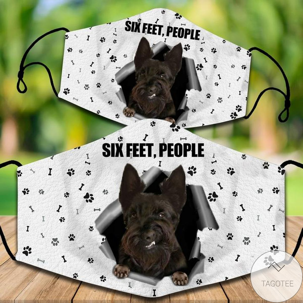 All Over Print Scottish Terrier Six Feet People Face Mask