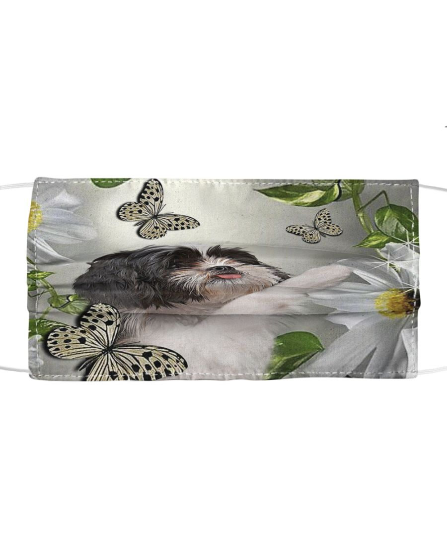 Shih Tzu Daisy and butterfly cloth mask