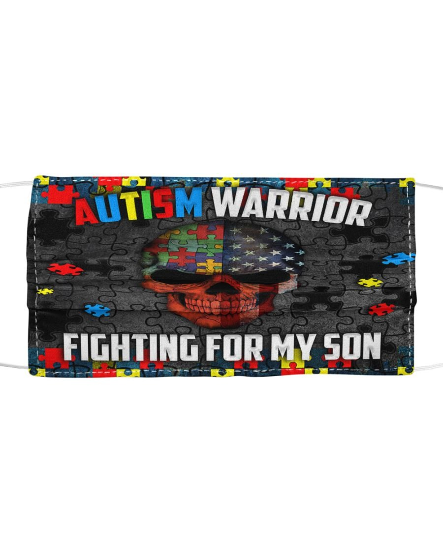 Skull Autism Warrior Fighting for my son face mask