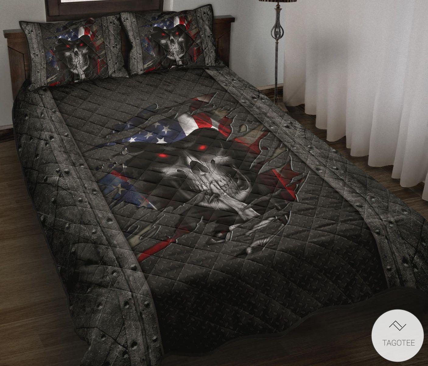 Skull Crack Us Flag Quilt Bedding Set