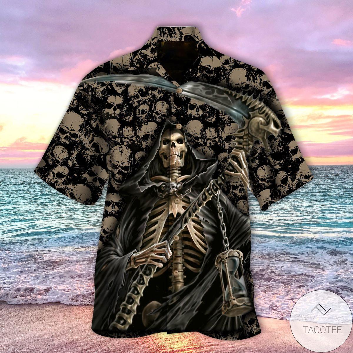 Ships From USA Skull Death Grim Reaper Hawaiian Shirt