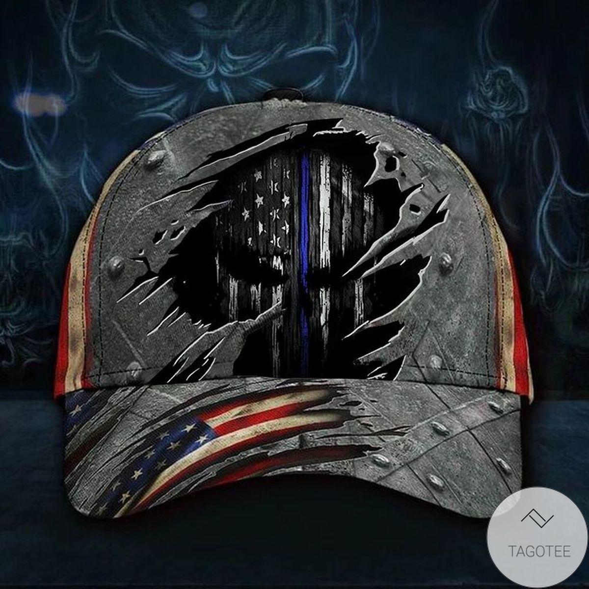 Skull Thin Blue Line Hat 3D Print Vintage USA Flag Cap Cool Mens Hat Back The Police