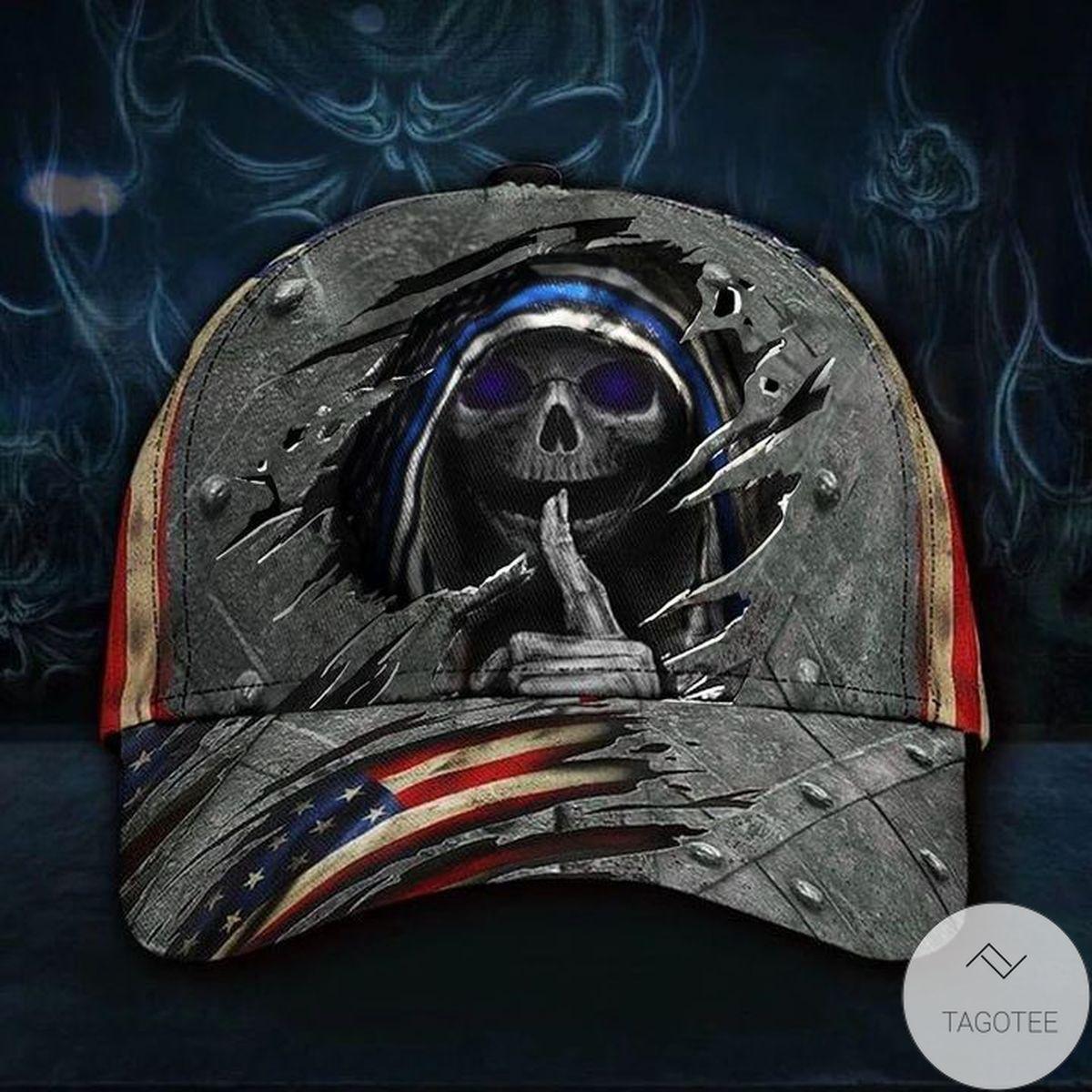 Skull Thin Blue Line Hat 3D Print Vintage USA Flag Hat Men Merchandise