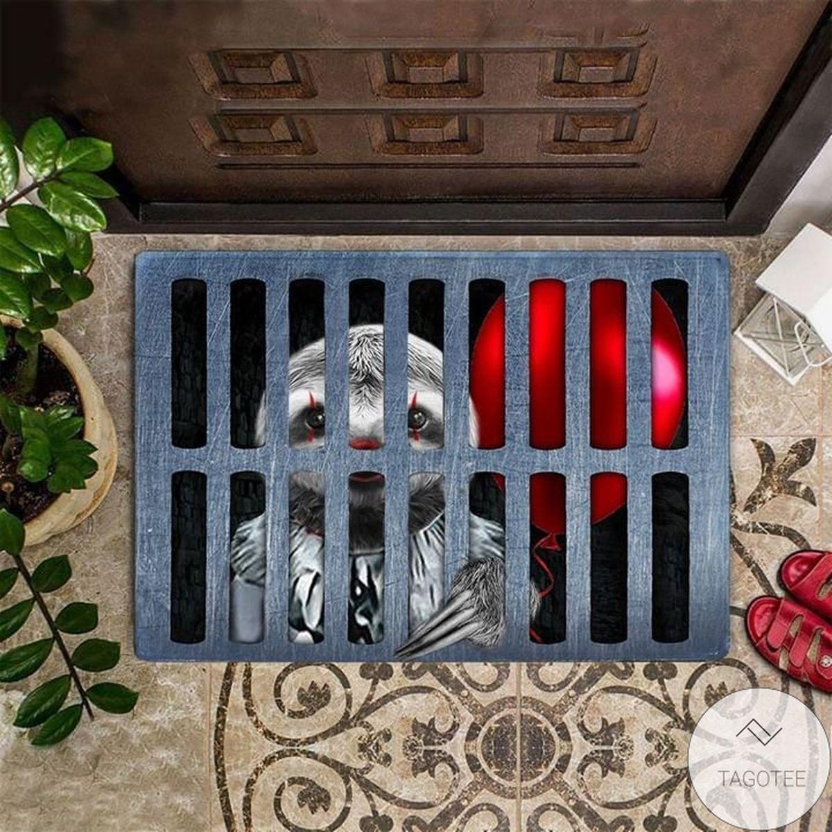 Sloth Clown It Halloween Doormat