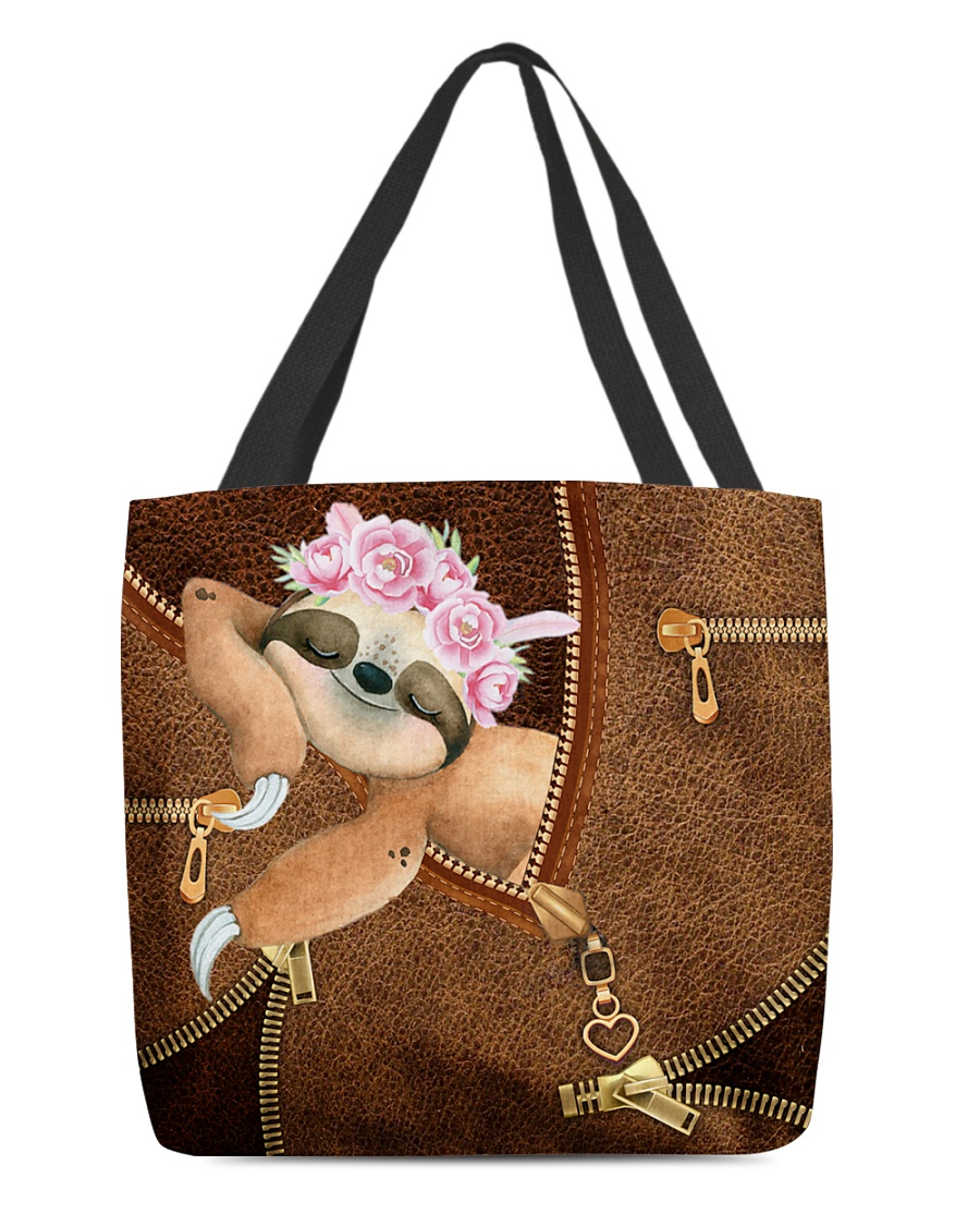 Sloth Leather Zipper All Over Print Tote Bag 1