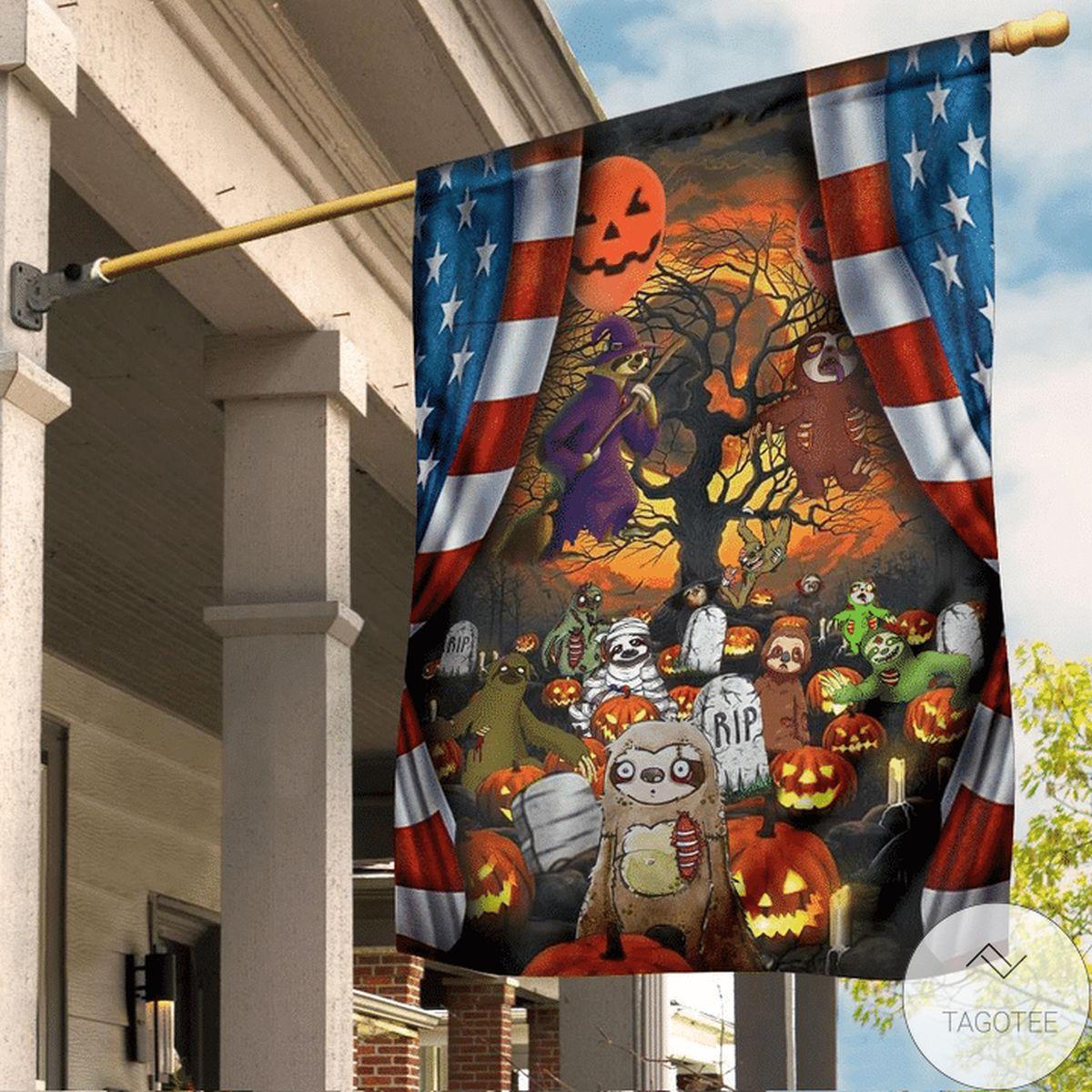 Sloth Pumpkin Halloween Flag Inside American Flag
