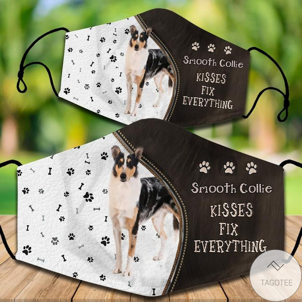 Smooth Collie Kisses Fix Everything Face Mask