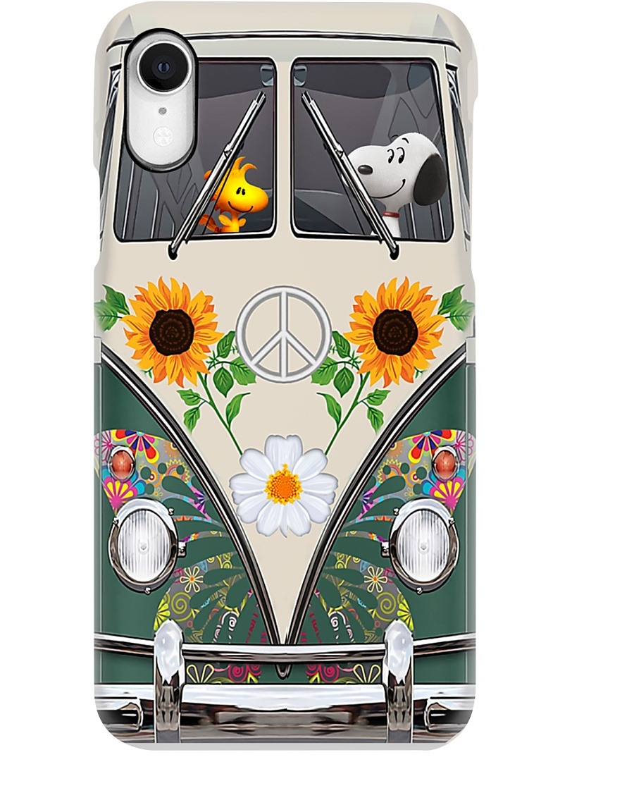 Snoopy and Woodstock Hippie bus phone case XR