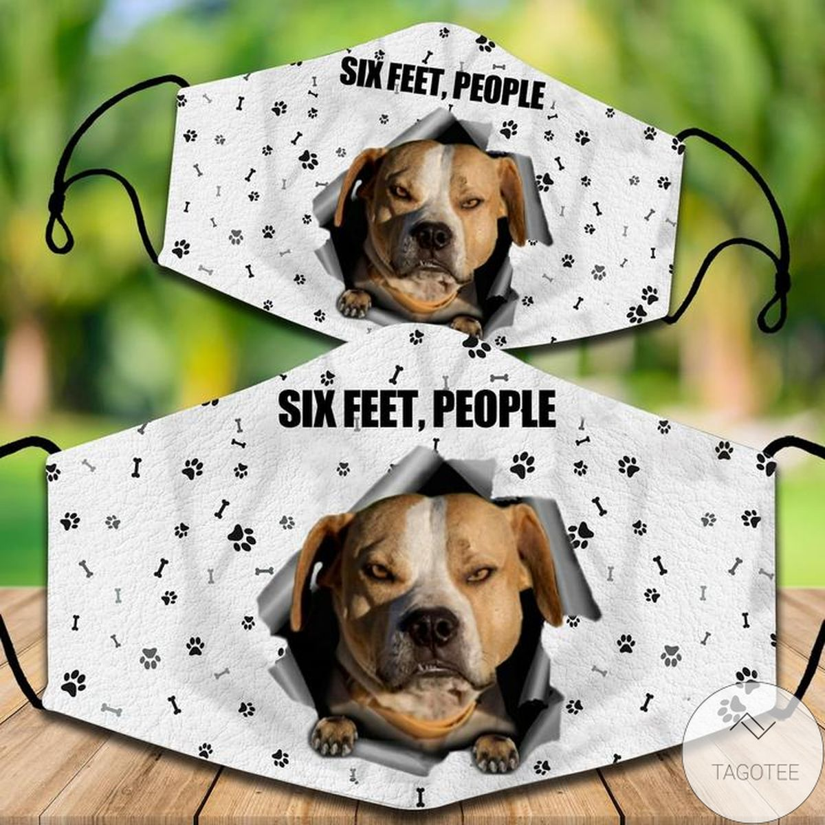 Staffordshire Bull Terrier Six Feet People Face Mask