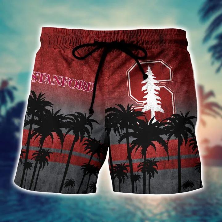 Vibrant Stanford Cardinal Tropical Hawaiian Shirt, Beach Short