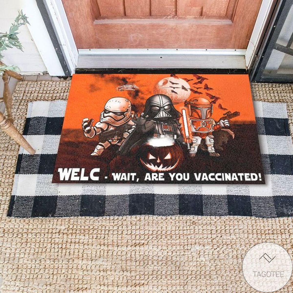 Star Wars Darth Vader Stormtrooper Boba Fett Halloween Night Are You Vaccinated Doormat
