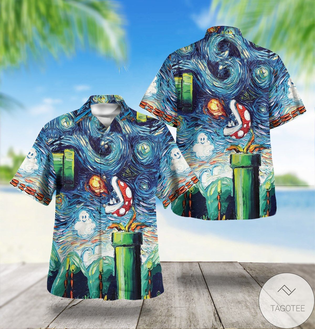 Starry Night Mario Hawaiian Shirt