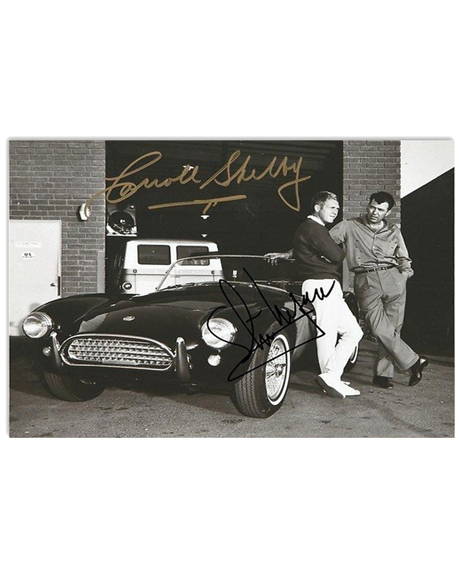 Steven McQueen and Carroll Shelby 1960s Cobra signatures poster
