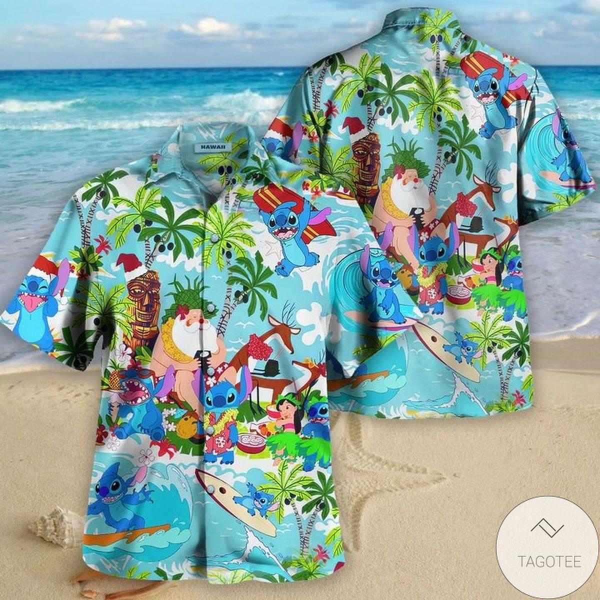 Stitch Santa On The Beach Hawaiian Shirt
