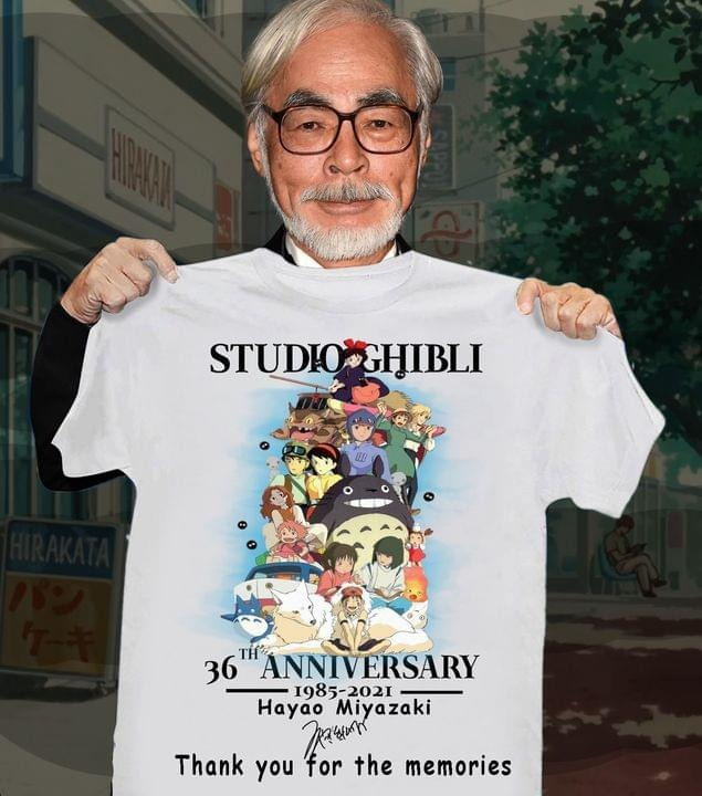 Studio Ghibli 36th Aniversary 1985-2021 Miyazaki Hayao Thanh You For The Memories Shirt 0