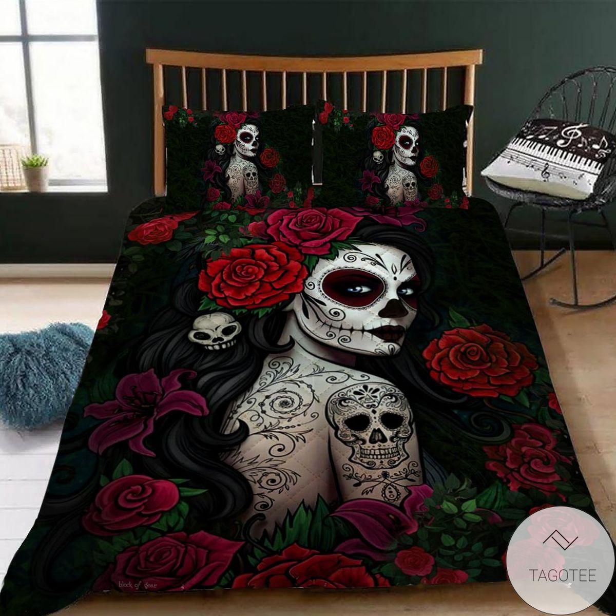 Hot Deal Sugar Skull Girl Bedding Set