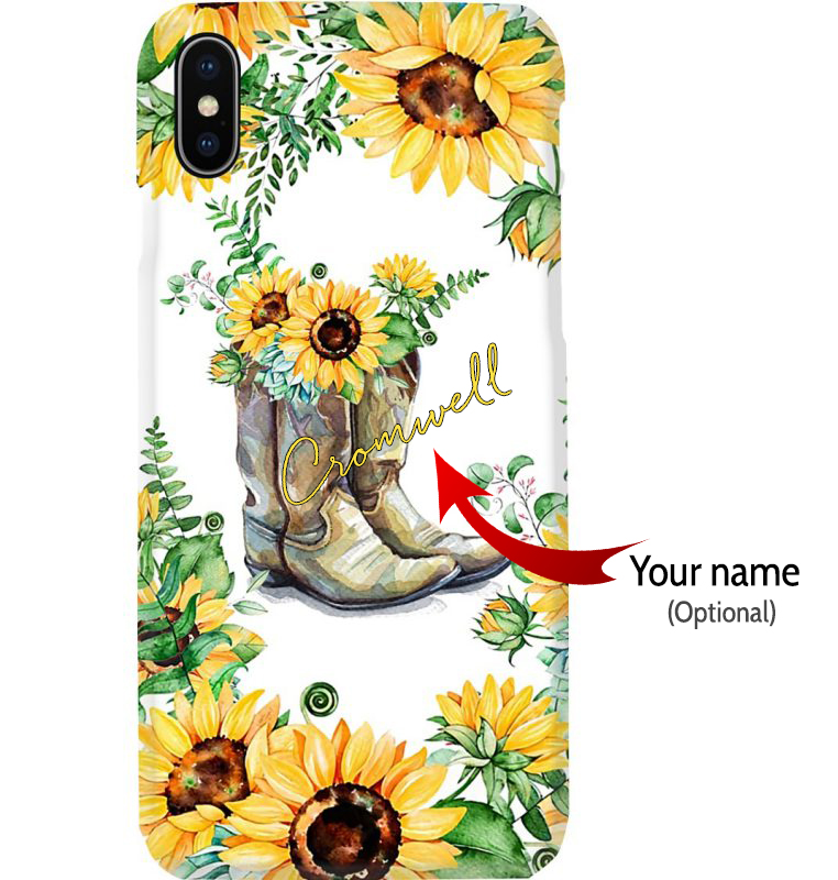 Sunflower-Boots-phone-case-custom name