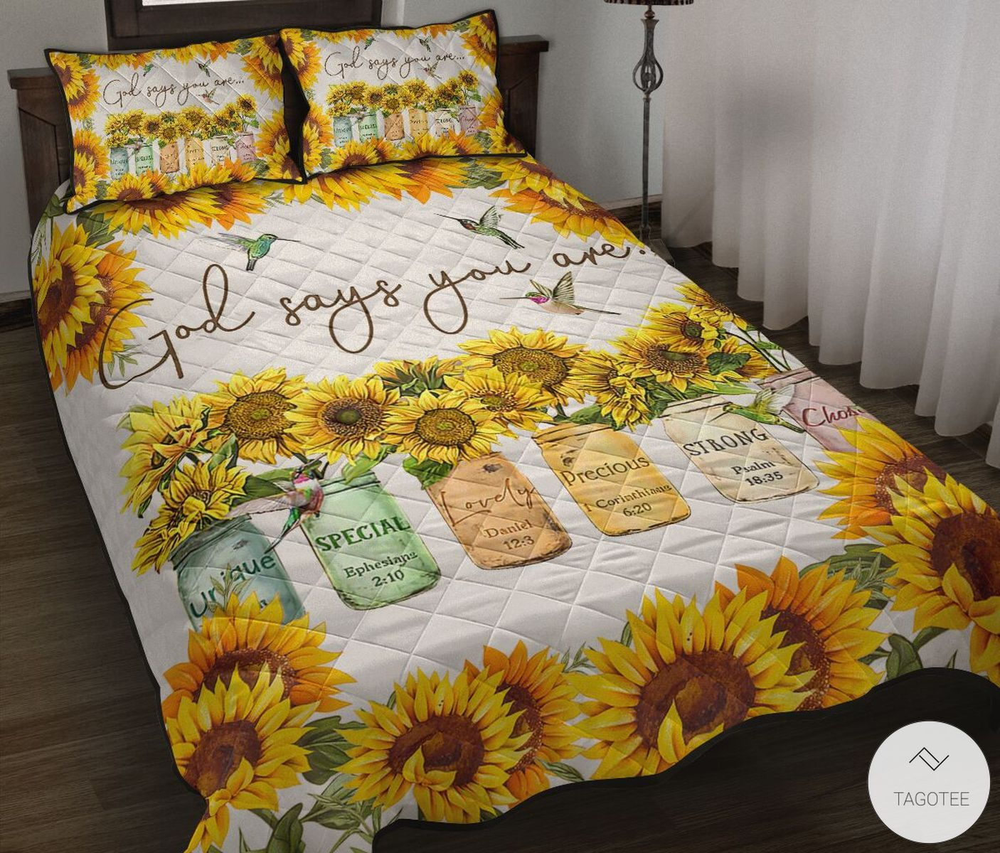 Sunflower God Says You Are Unique Special Lovely Quilt Bedding Set