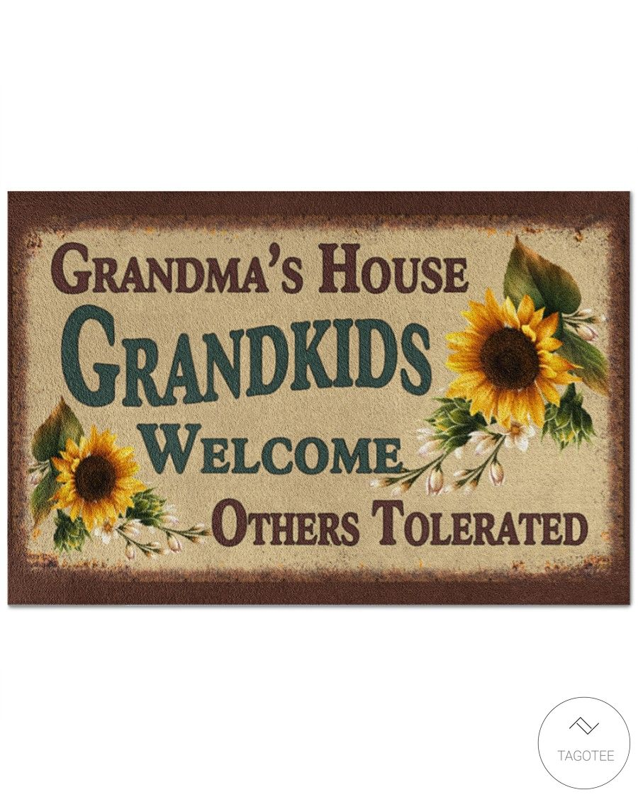 Sunflower Grandma's House Grandkids Welcome others tolerated doormat_result