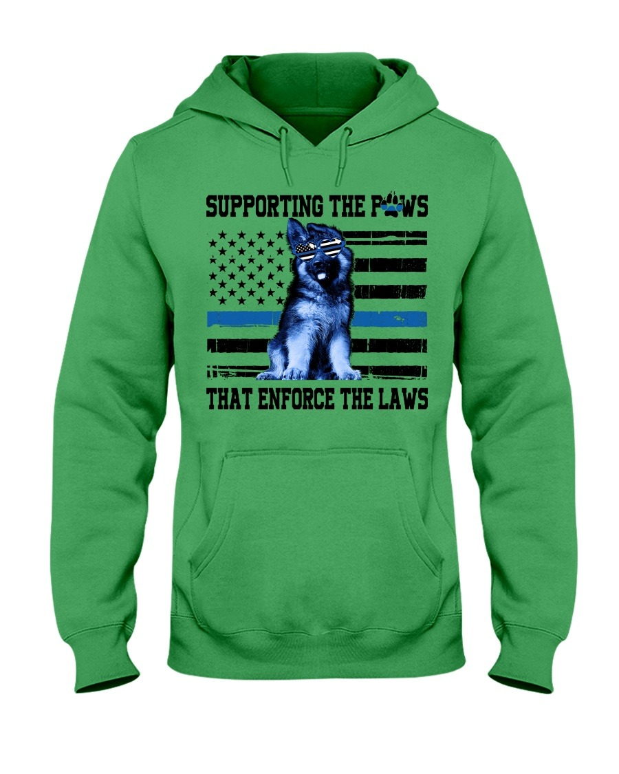 Supporting the paws that enforce the laws American flag cute dog hoodie