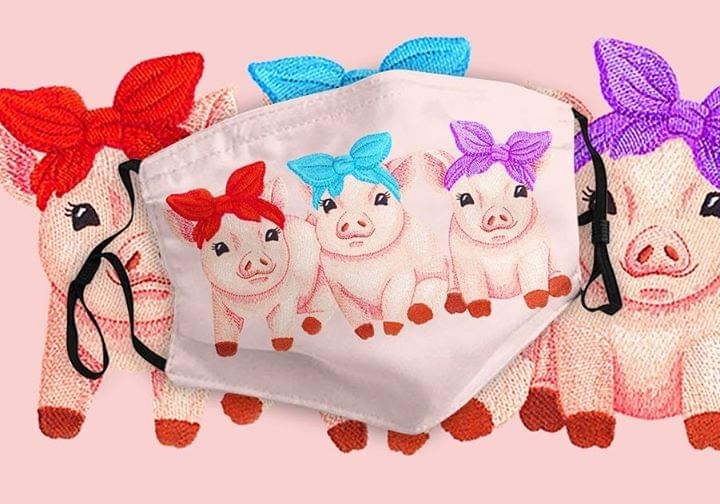 Sweet Pink Piglet Trio Embroidery mask