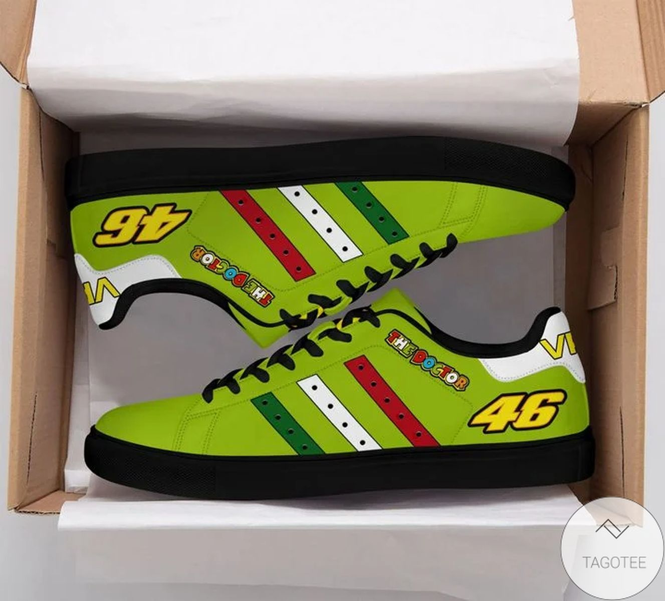 3D The Doctor Vr46 Yellow Green Stan Smith Shoes