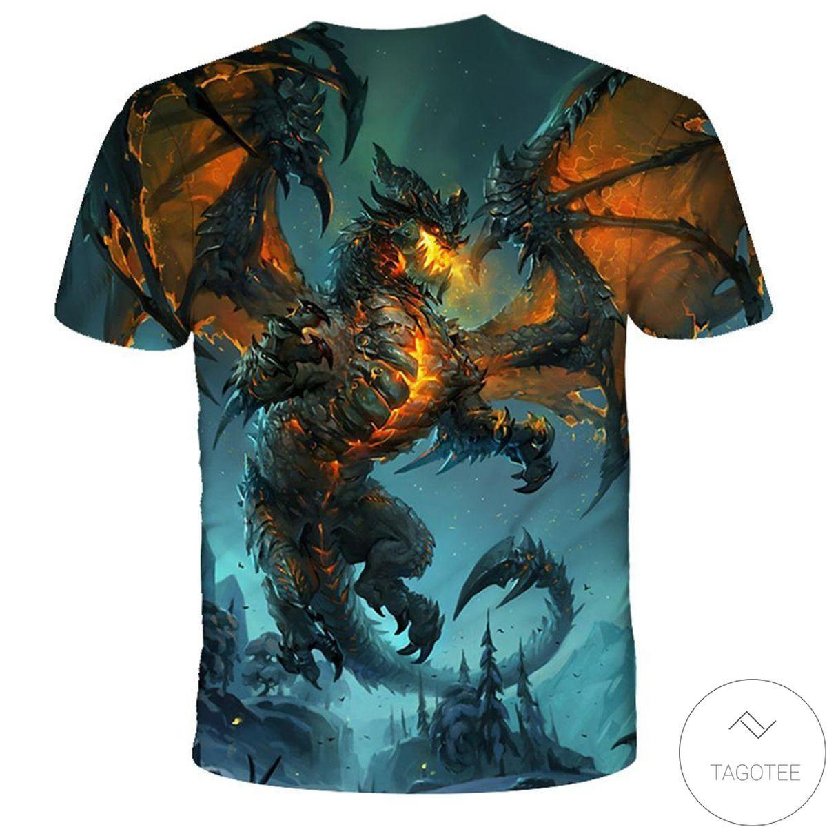 Present The Dragon 3d Graphic Printed Short Sleeve Shirt