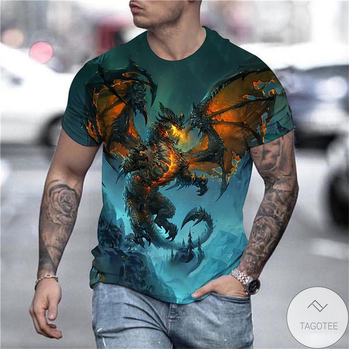The Dragon 3d Graphic Printed Short Sleeve Shirt