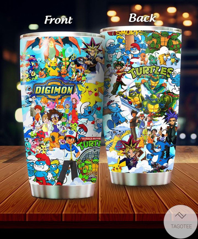 The Smurfs, Pokemon, Digimon, Teenage Mutant Ninja Turtles, Yu Gi Oh, Cartoon Tumbler