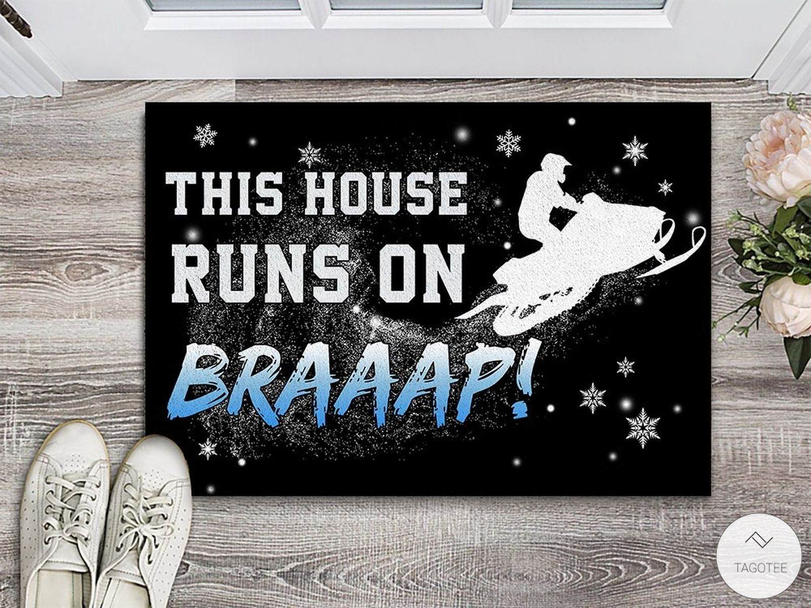 This House Runs On Braaap Snowmobile Doormat
